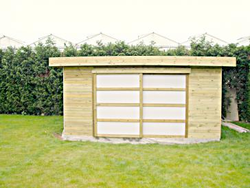 Tuinhuis met schuifdeur en plat dak
